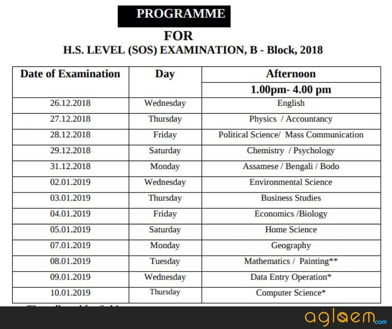 Assam Open School HS B Block Exam Routine 2018
