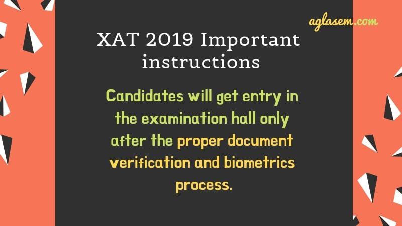 XAT 2019 Important Instructions