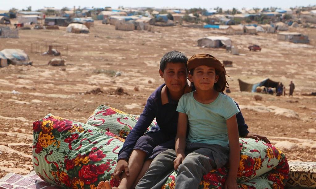 位于难民营的叙利亚孩童。(图片来源:Aaref Watad/AFP)