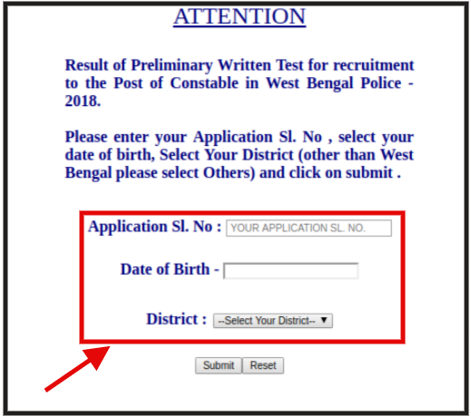 WB Police Constable Result 2018 - Login Page