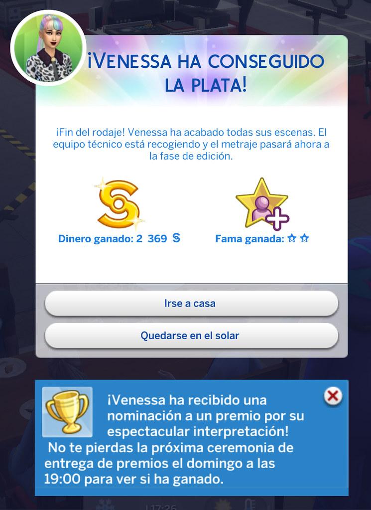 Profesión Actuación en Los Sims 4 - Resultado del trabajo