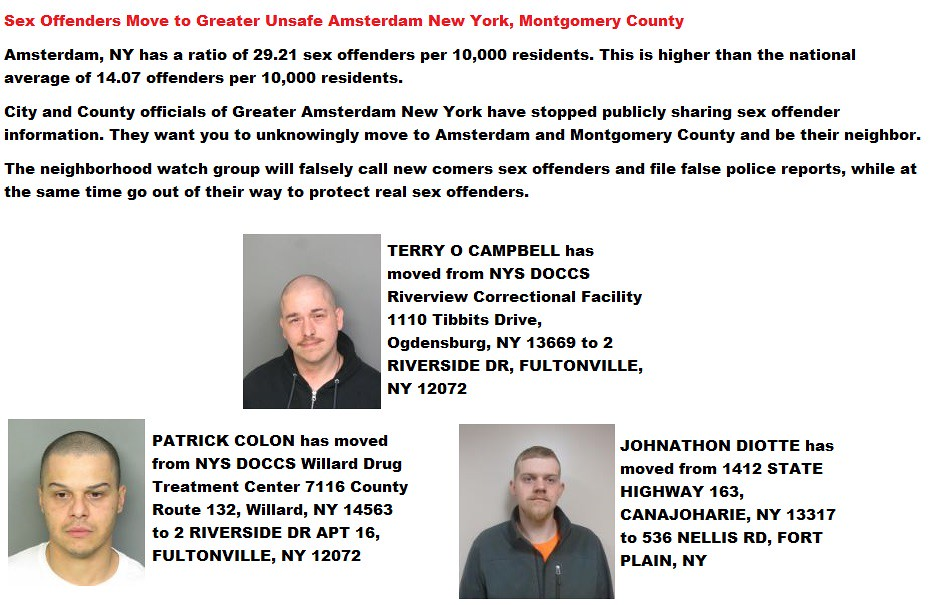 ... Sex Offenders Move to Greater Unsafe Amsterdam New York, Montgomery  County | by Amsterdam,