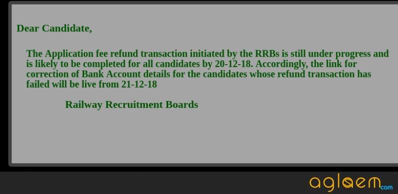 RRB ALP 2018 Application Fee Refund