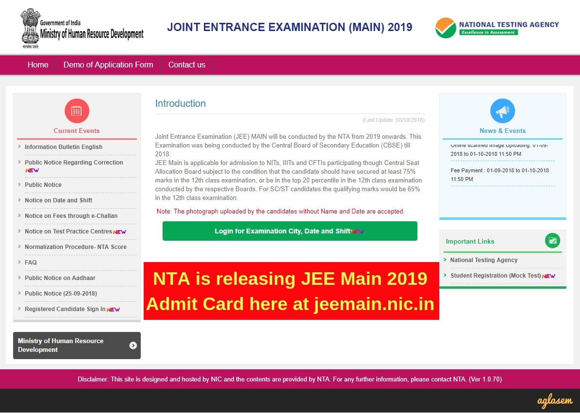 JEE Main Admit Card 2019 Download
