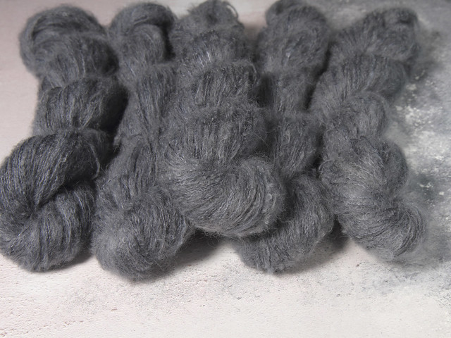 Fuzzy Lace – Brushed Baby Suri Alpaca & Silk hand dyed yarn 25g – 'Coal Dust'