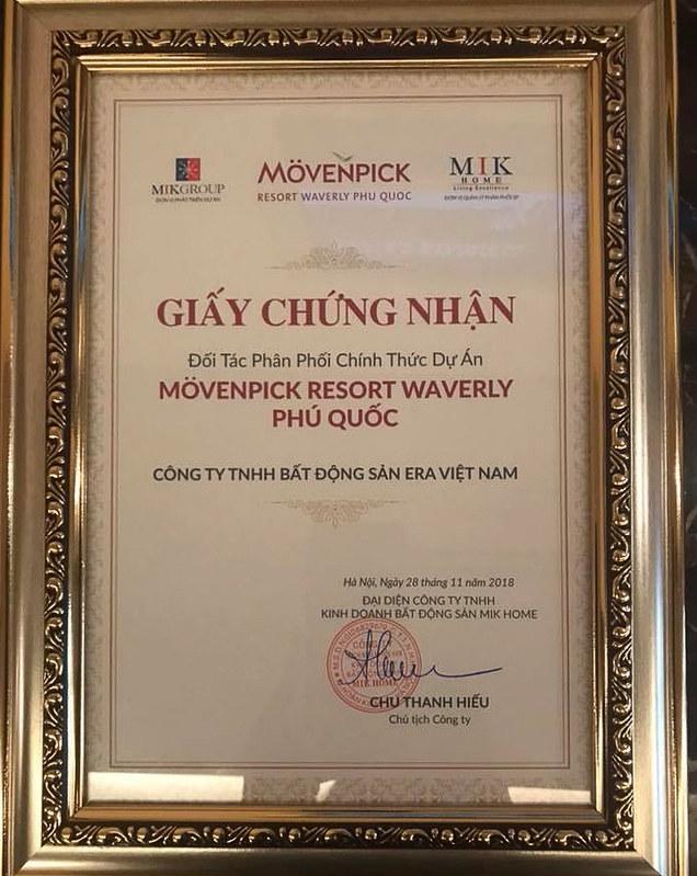 chứng nhận phân phối condotel và biệt thự Movenpick Phú Quốc