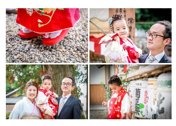 七五三 大縣神社 愛知県犬山市 3歳の女の子 赤い着物