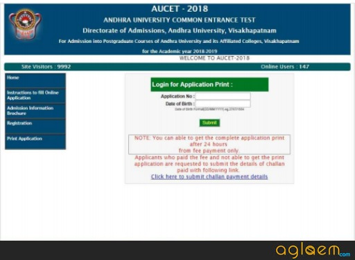 AUCET 2019 Application Form (Available) - Registration, How To Fill, Eligibility Criteria, Application Fee