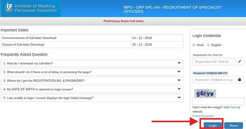 IBPS SO 2018 Admit Card Login page