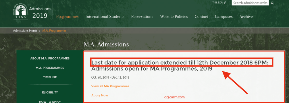 TISSNET 2019 Application Last Date Extended