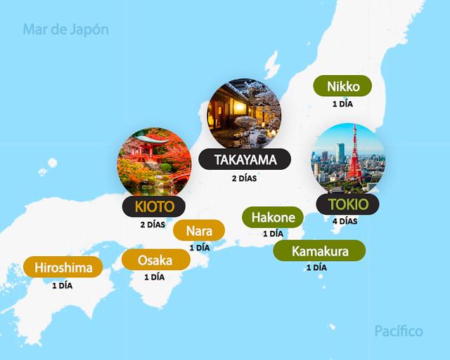 Mapa e itinerario de 15 días por Japón