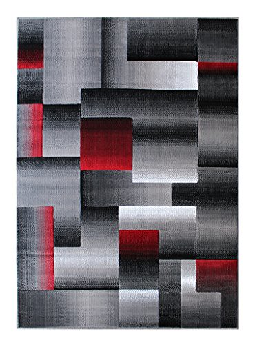 masada rugs modern contemporary area rug red grey black flickr. Black Bedroom Furniture Sets. Home Design Ideas