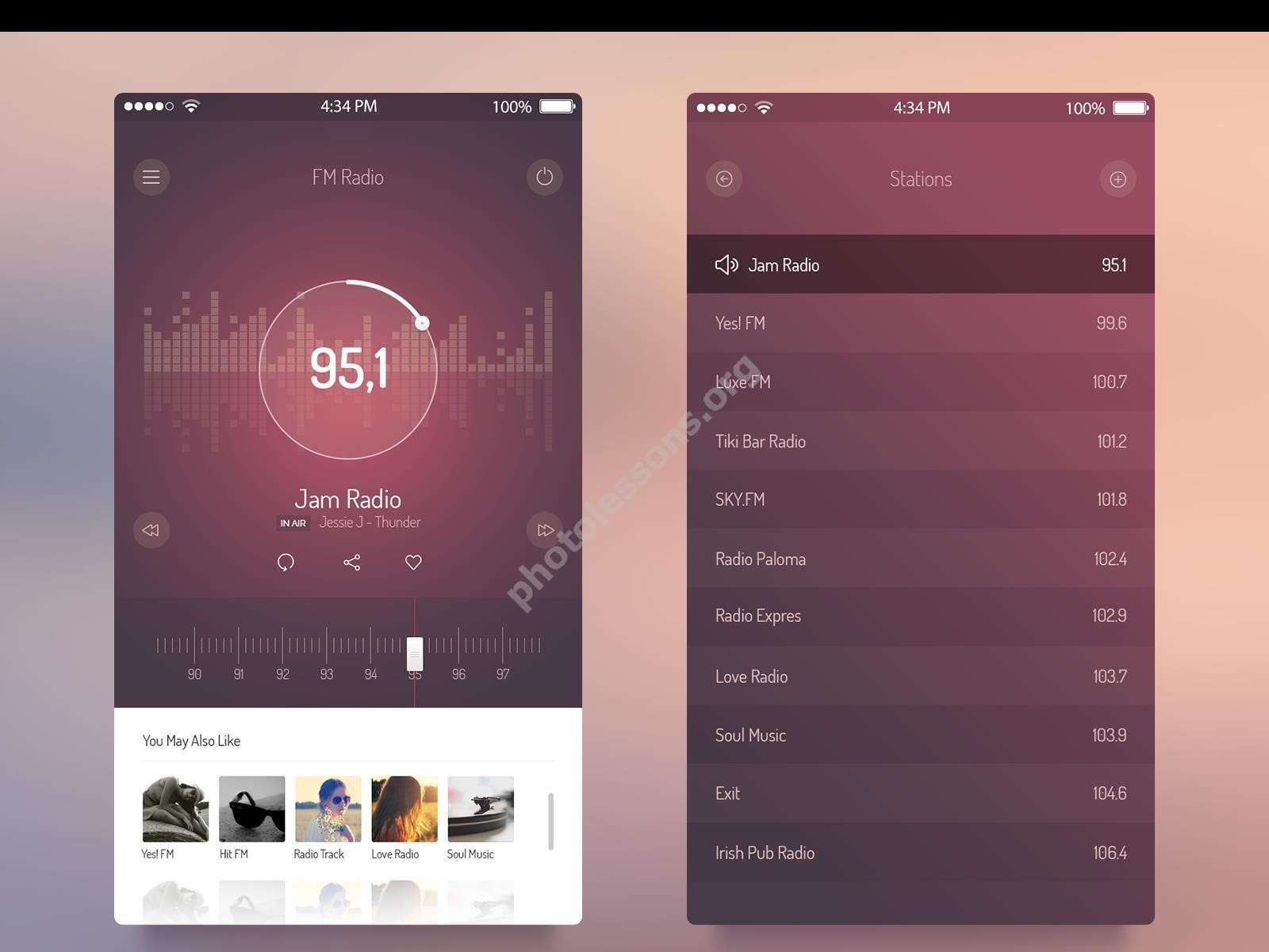 FM radio for iOS 7 – download the source code format .PSD