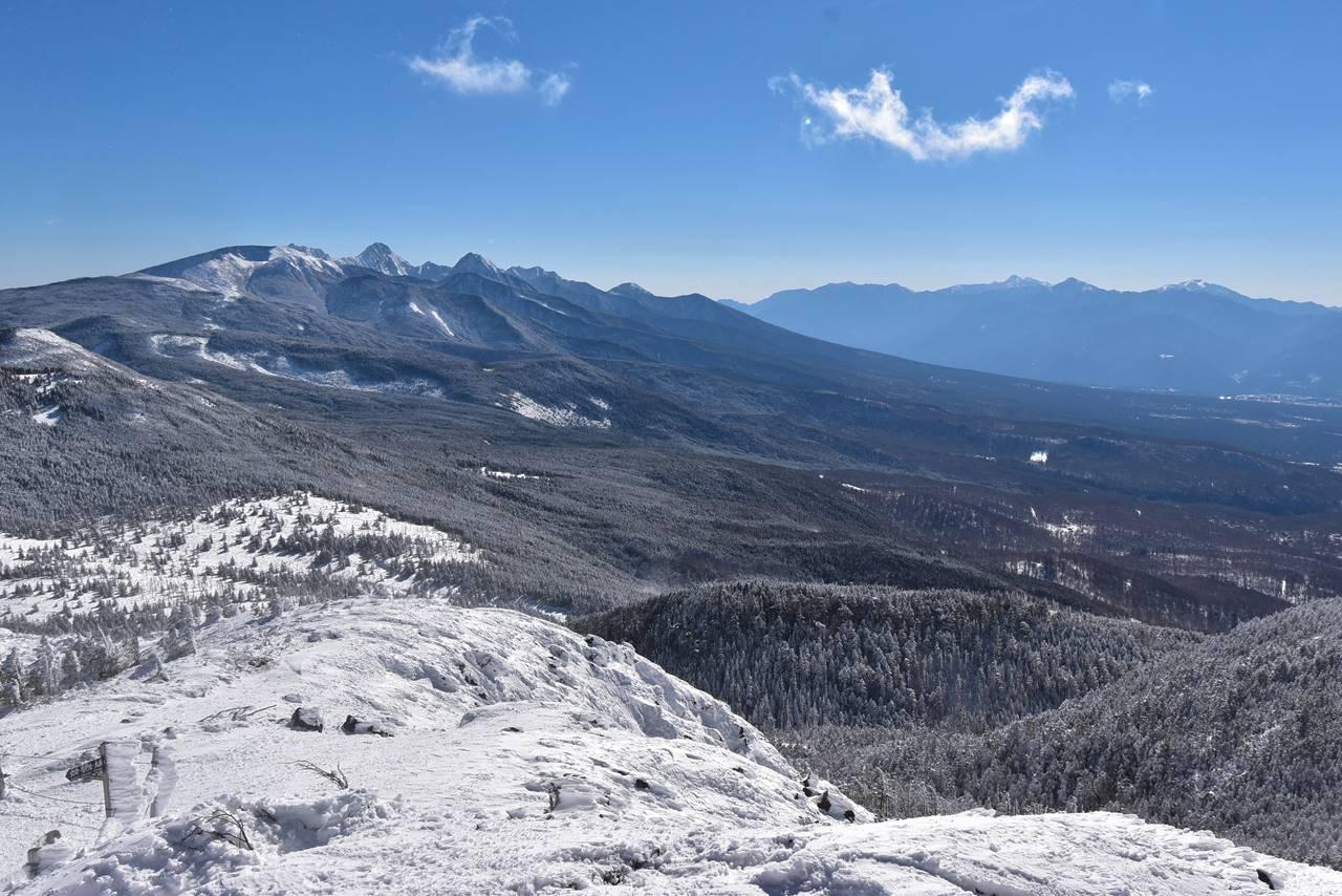 冬の北横岳山頂からの展望