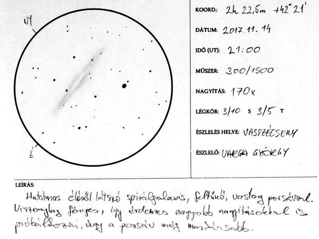 VCSE - Az NGC 891 extragalxis rajza - Varga György munkája