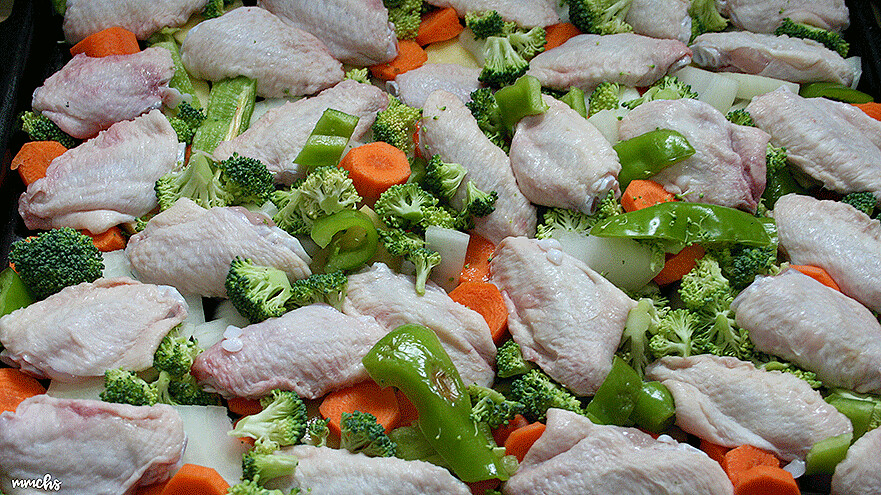 receta alas de pollo al horno con verduras