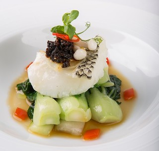 4.Crystal Dragon.Steamed Cod Fish with Black Garlic Sauce and Garden Green (2) | by OURAWESOMEPLANET: PHILS #1 FOOD AND TRAVEL BLOG
