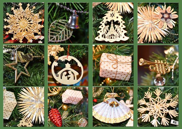 Weihnachten Weihnachtsbaum Christbaum künstlich Baumschmuck aus Holz und Stroh ... Erinnerung ... Fotos und Collage: Brigitte Stolle