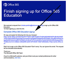 Office 265 Signup Confirmation Screenshot