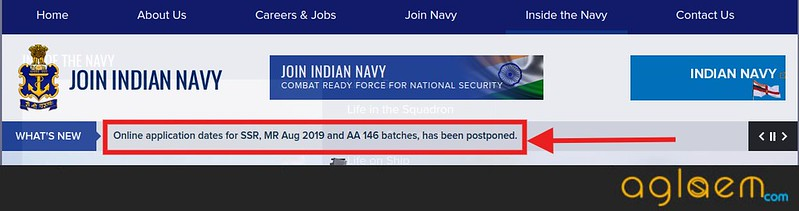 Indian Navy AA, SSR, MR Application Form Postponement notice