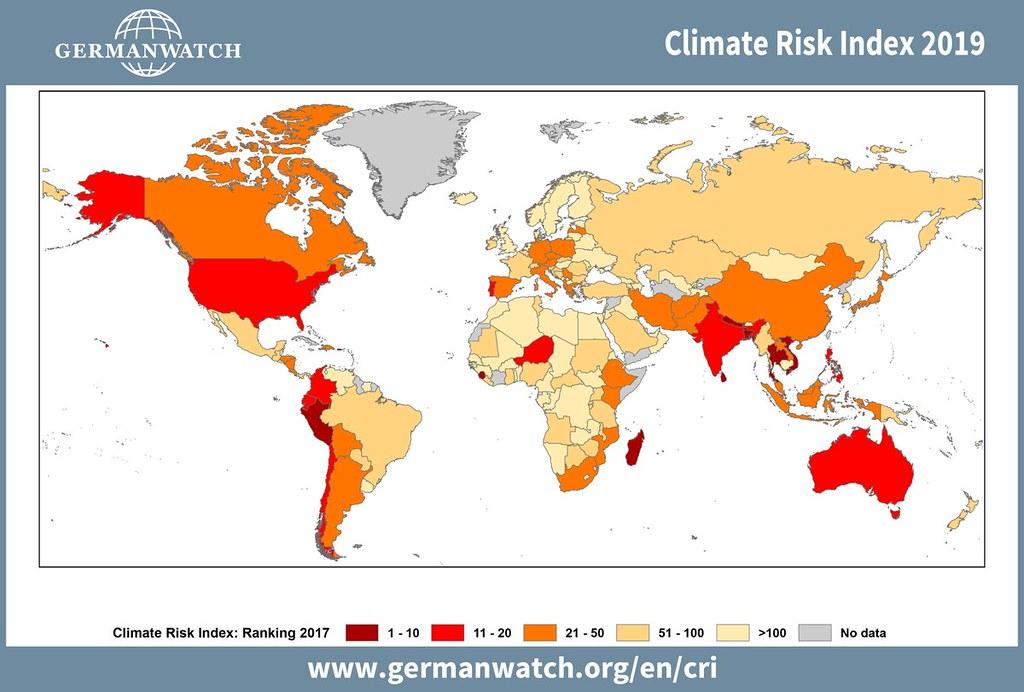 德國看守協會公布2019全球氣候風險指數