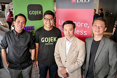 (From left) Gojek President, Andre Soelistyo; Gojek's Global Head of Transport, Raditya Wibowo; Shee Tse Koon, Group Head of Strategy and Planning, DBS Bank; and Gene Wong, Head of Ecosystems, Consumer Banking Group, DBS Bank.