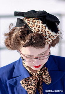 Blue suit with 1940s leopard hat | by polka.polish