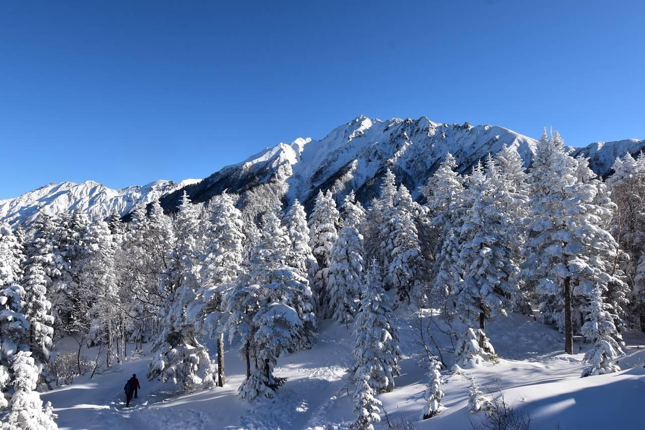 展望台から眺める雪の穂高連峰