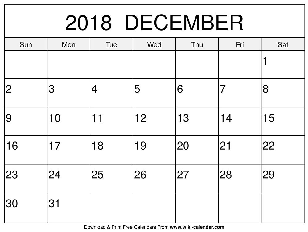 blank december 2018 calendar by sharongore2018