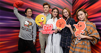 Mediacorp artistes Dennis Chew, Shane Pow, Hong Ling, Bonnie Loo and Kayly Loh at the 11.11 launch at Alibaba Visitor Centre in Singapore.