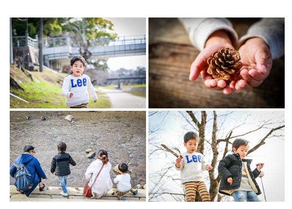 ロケーションフォト 川原で家族写真 松ぼっくり