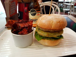 Sweet Potato Fries and Hemp Therapea Burger (with pineapple) from Grill'd | by dimsimkitty