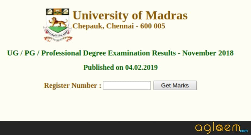Madras University Results 2018 Released at www.unom.ac.in