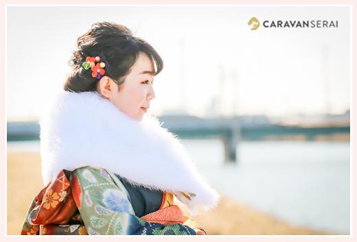 日光川堤防で成人式写真のロケーションフォト 愛知県蟹江町