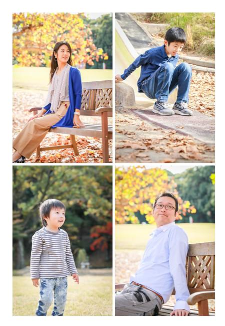 紅葉の季節の公園で家族写真 森林公園(愛知県尾張旭市)