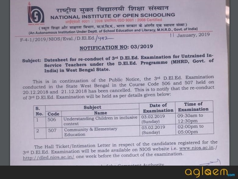 NIOS releases Date sheet for re-conduct of 3rd DELED Exam in West Bengal