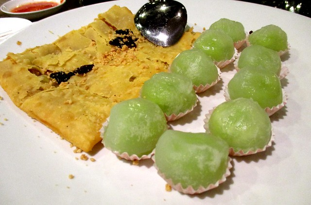 Chinese pancake and mochi
