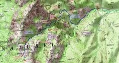"""Carte du Haut-Cavu avec l'ensemble du ruisseau du Finicione et le tracé du Castedducciu (""""Chemin de la Montagne aux Plages"""" ) par la RG et sa variante par la RD"""