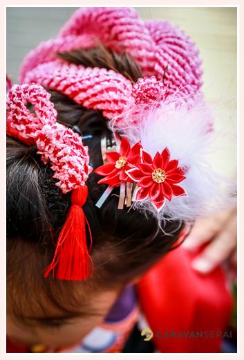 七五三 女の子の髪飾り 赤