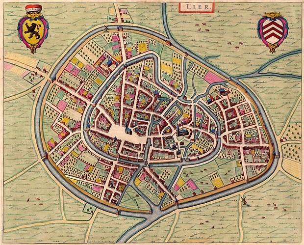Mapa antiguo de Lier en Flandes