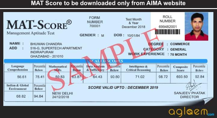 MAT Score Sample
