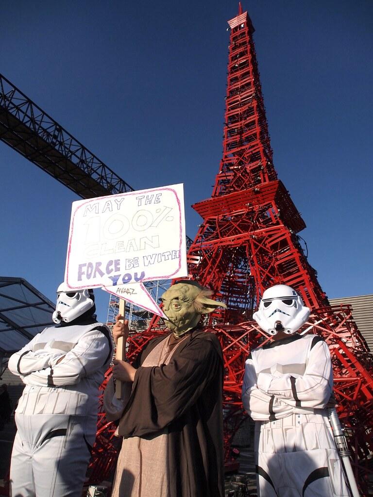 巴黎氣候峰會上的尤達大師:「願100%清潔原力與你同在。」攝影:賴慧玲