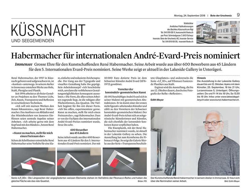 2018 – André Evard Preis – Bote der Urschweiz