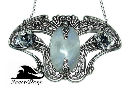 "Necklace / pendant ""Ice dreams"" with moonstone, silver in Vintage, Steampunk, Victorian, Art Nouveau, Gothic jewelry styles handmade 