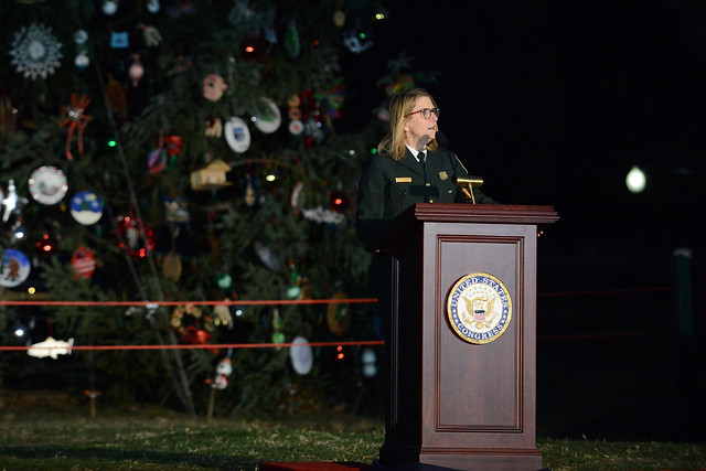 Forest Service Chief Vicki Christiansen giving a speech at the U.S. Capitol Christmas Tree Lighting Ceremony
