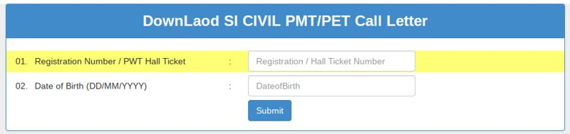 AP SI Hall Ticket 2018 for PET/PMT - Login page