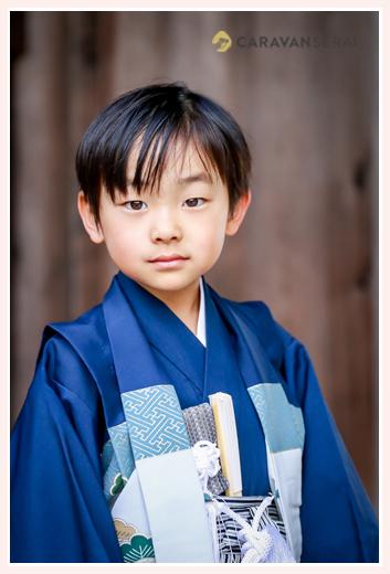 七五三 5歳の男の子 青の着物