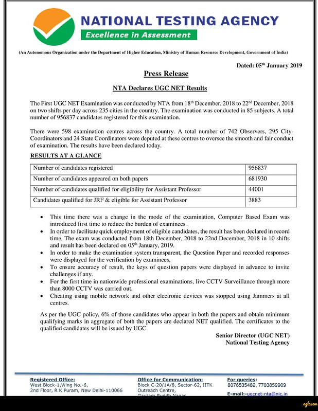 NTA Declares UGC NET Dec Result 2018; Check Result at ntanet.nic.in