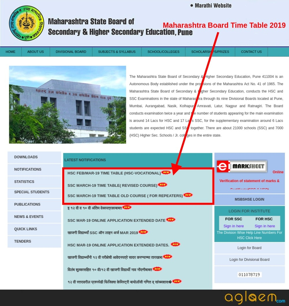 MAHARASHTRA BOARD SSC and HSC Final TIME TABLE 2019