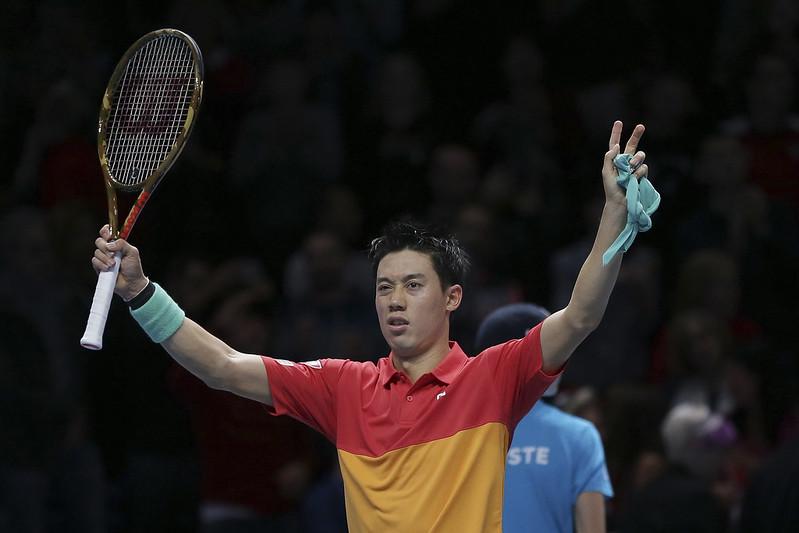 錦織圭相隔4年終於擊敗偶像Roger Federer,而且是在年終賽。(達志影像)